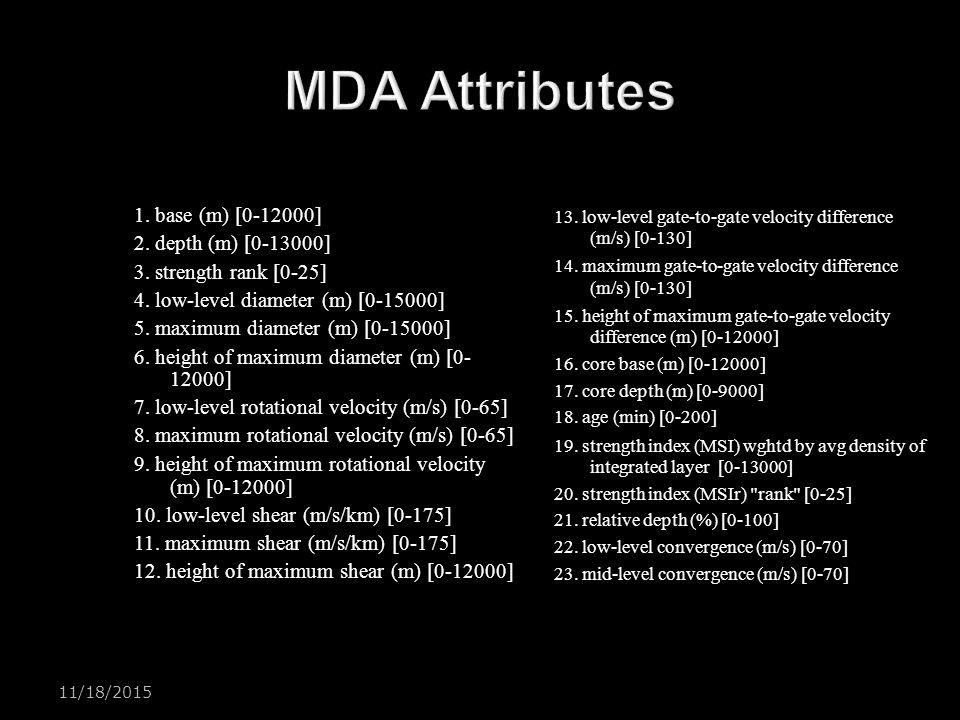 MDA Attributes 1. base (m) [0-12000] 2. depth (m) [0-13000]